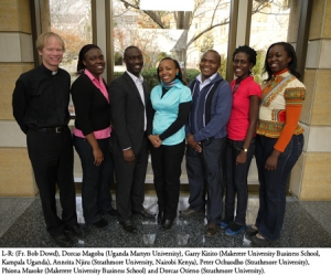 Rev. Robert Dowd is pictured with the group of African students selected to participate in the 2012 pilot program.