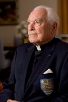 Rev. Theodore M. Hesburgh C.S.C. in his Hesburgh Library office